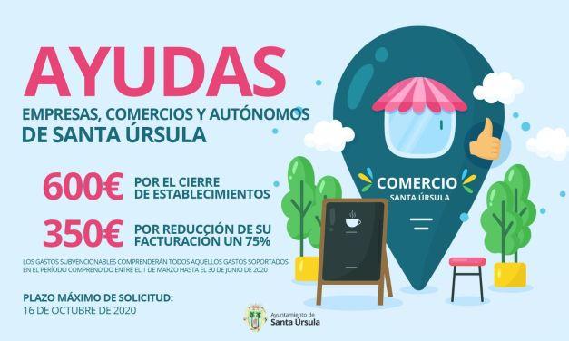 El Ayuntamiento de Santa Úrsula convoca las ayudas para paliar los efectos económicos del coronavirus en pymes y autónomos