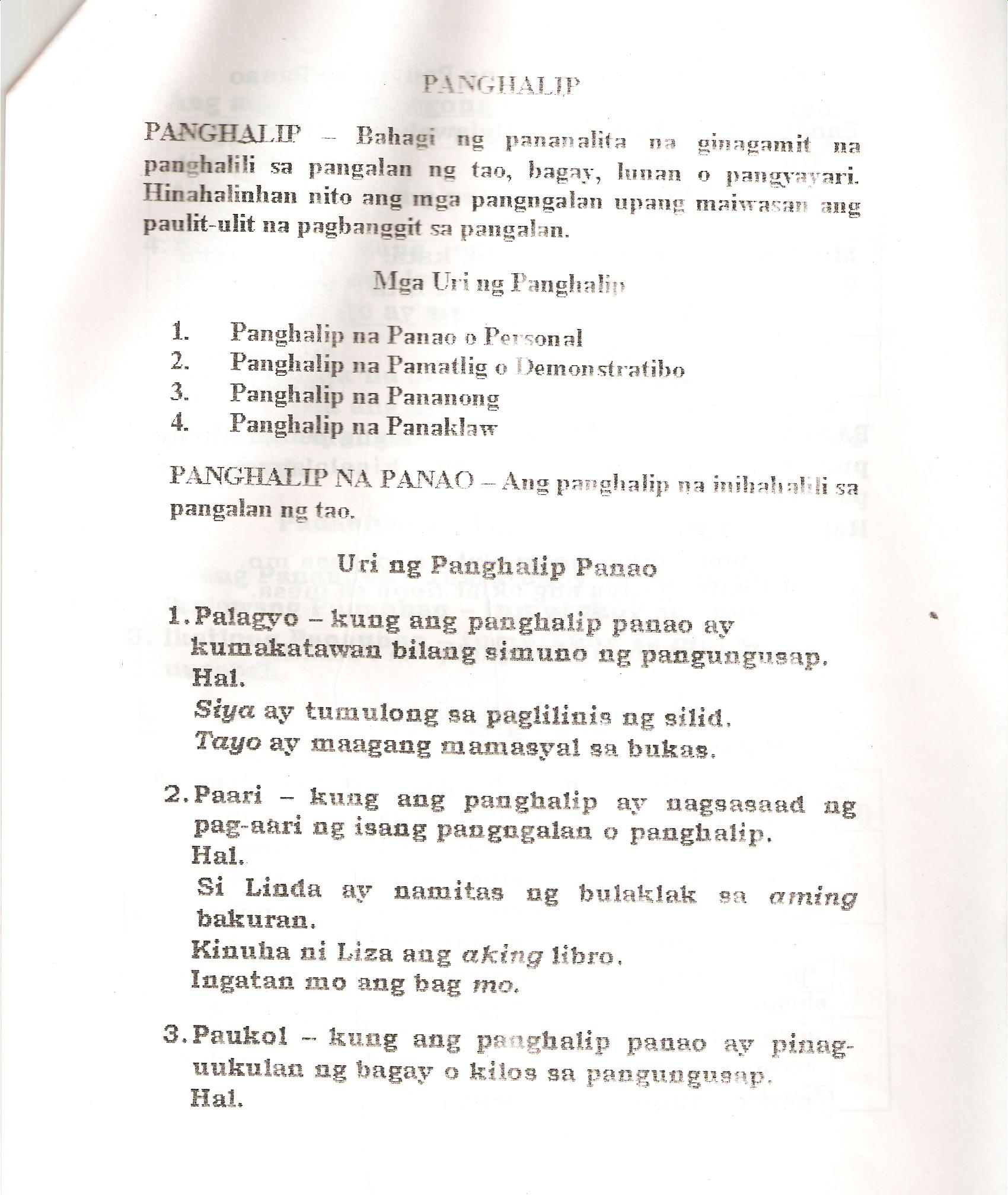 Worksheets Panghalip Paari