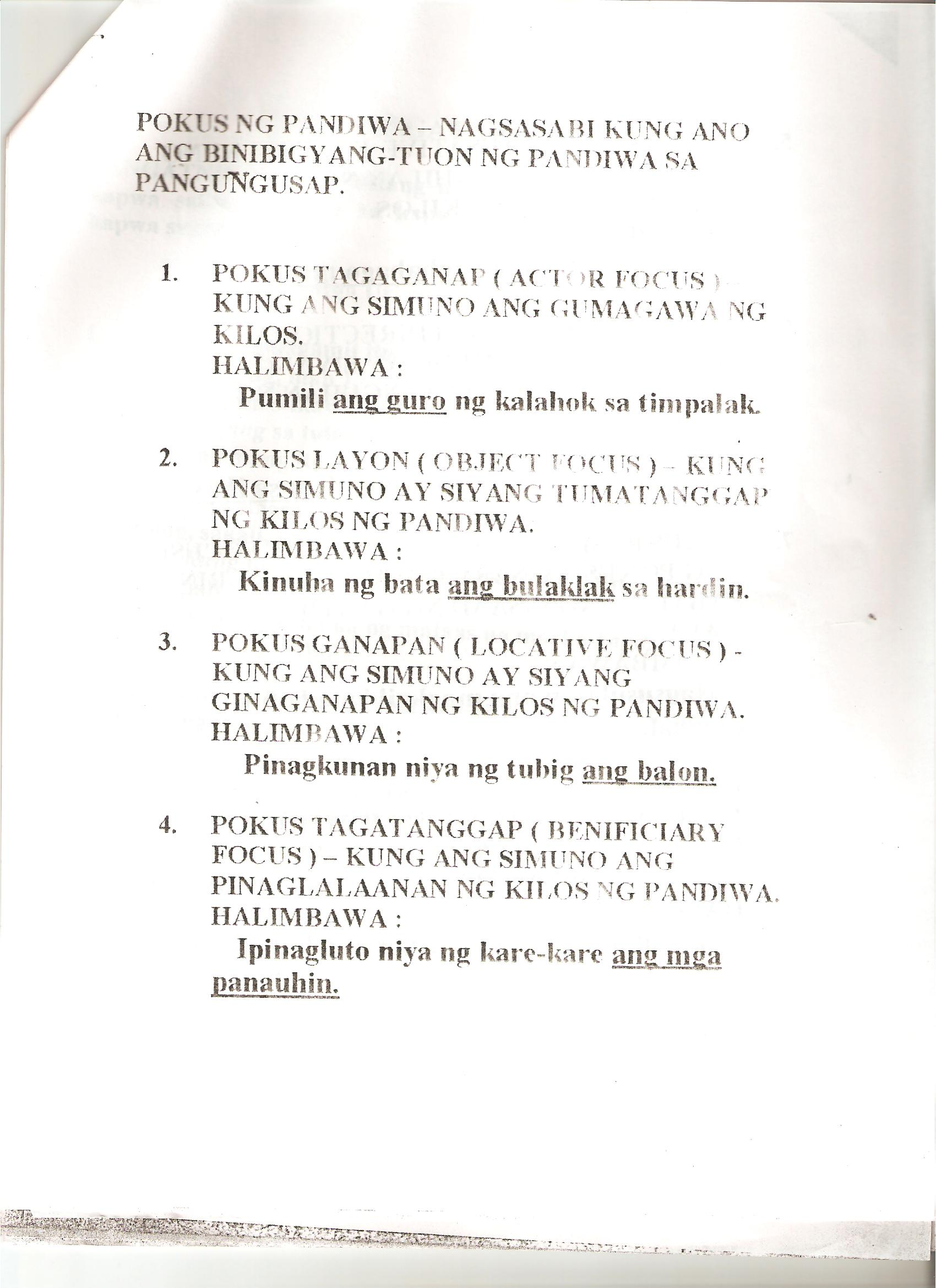 Kaantasan Ng Pandiwa Worksheets