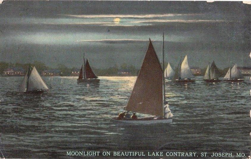 Moonlight on Lake Contrary St. Joseph Mo.