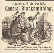 By 1849, there were nine blacksmith shops in Saint Joseph.