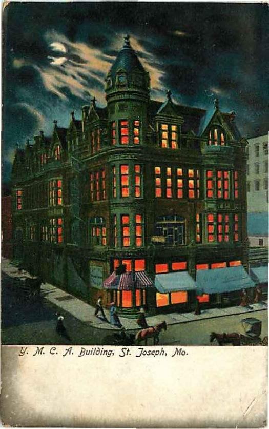 Postcard Y. M. C. A. Building at Night, St. Joseph, Missouri – pre 1907