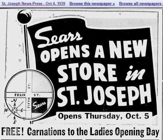 Sears opens a store in St Joseph in 1939