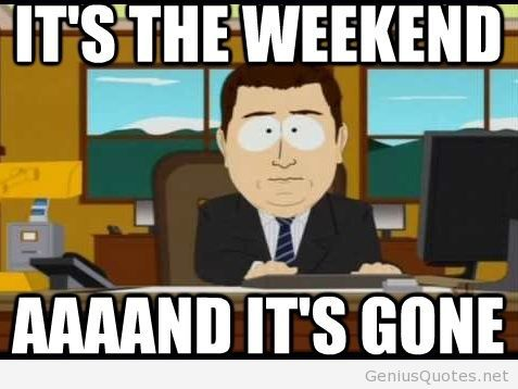 Its The Weekend And Its Gone Funny Weekend Meme