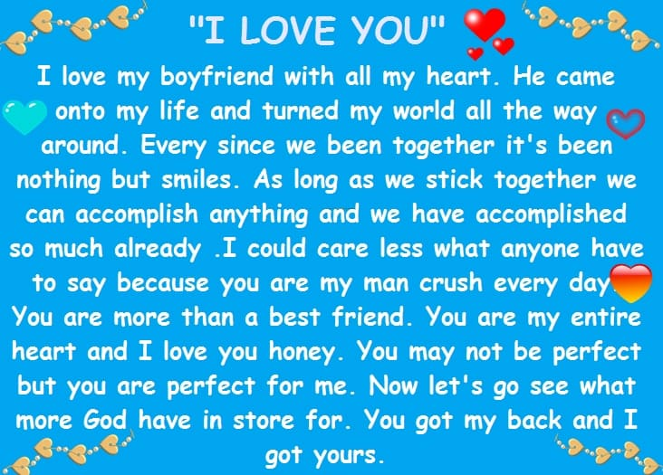Sweet paragraphs to your boyfriend