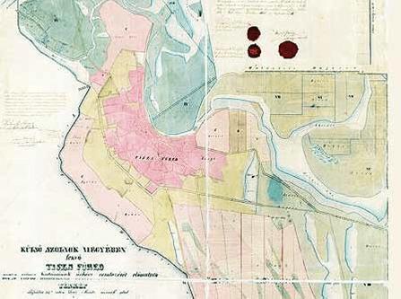 Tiszafüred 1857-es térképe
