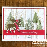 White Merry Moose Christmas Card