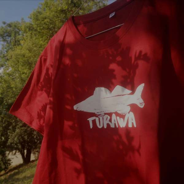 Koszulka meska sandacz Turawa krol Turawy I Love Turawa bordowa