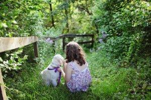 girl kid dog nature