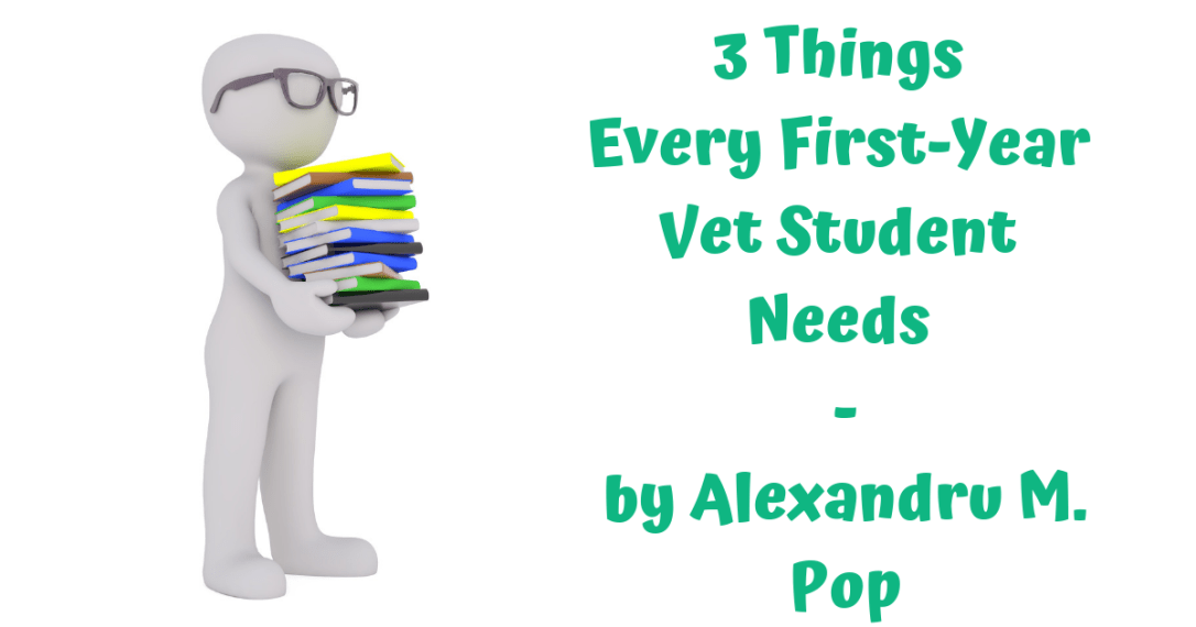 A veterinary student with books