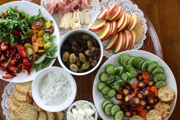 olives with apples, cheese, and fresh fruits and vegetables
