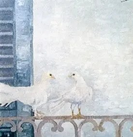 Colombe sul balcone dipinto di Nunzio Sciavarrello
