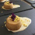 Flan di asparagi bianchi con uovo mimosa e fonduta di Parmigiano