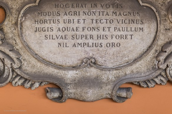 "Stone Plaque with quote from Horace's ""Satires"""