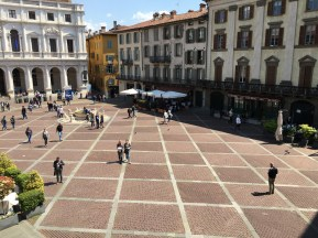 View of the piazza from the top of the stairs