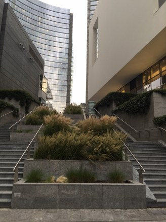 The stairs up to the Piazza Gae Aulenti (there are elevators!)