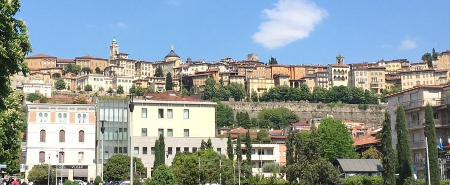 Walking to the funicular for Bergamo's Alta Citta