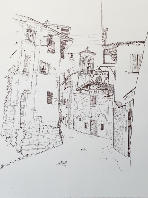 A drawing posted on the wall of the funicular station