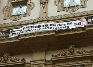 striscione antifascista, milano