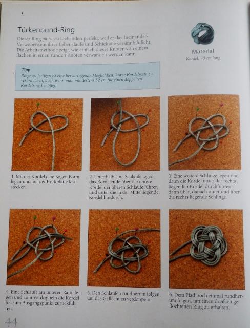 """Türkenbund-Ring aus dem Buch  """" Keltische Knoten für Schmuckstücke"""" von Suzen Millodot, 2007 , frechverlag"""