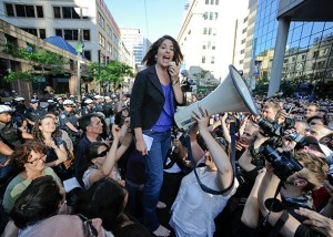 Naomi Klein spoke in front of an estimated 3,000 people in front of Toronto Police Headquarters who