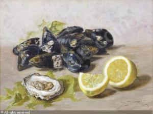 bottiglieri-gennaro-1899-1965-cozze-ostriche-e-limoni-su-un-2647617