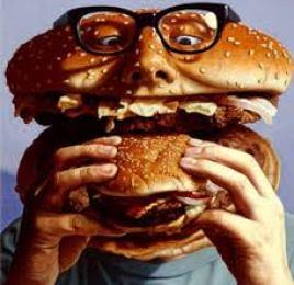 Il busto di un uomo a forma di hamburger che mangia un hamburger