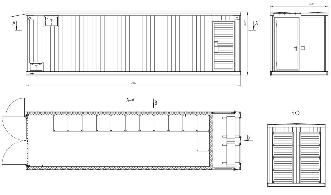 Габаритный чертеж контейнера ББ.ТМ-9,0 для ЦОД