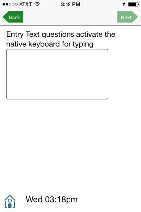 Free text entry opens keyboard