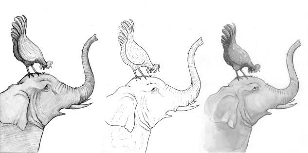 Elefante y gallo