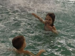 Kylie and Logan in the Water