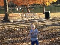 Throwing leaves.