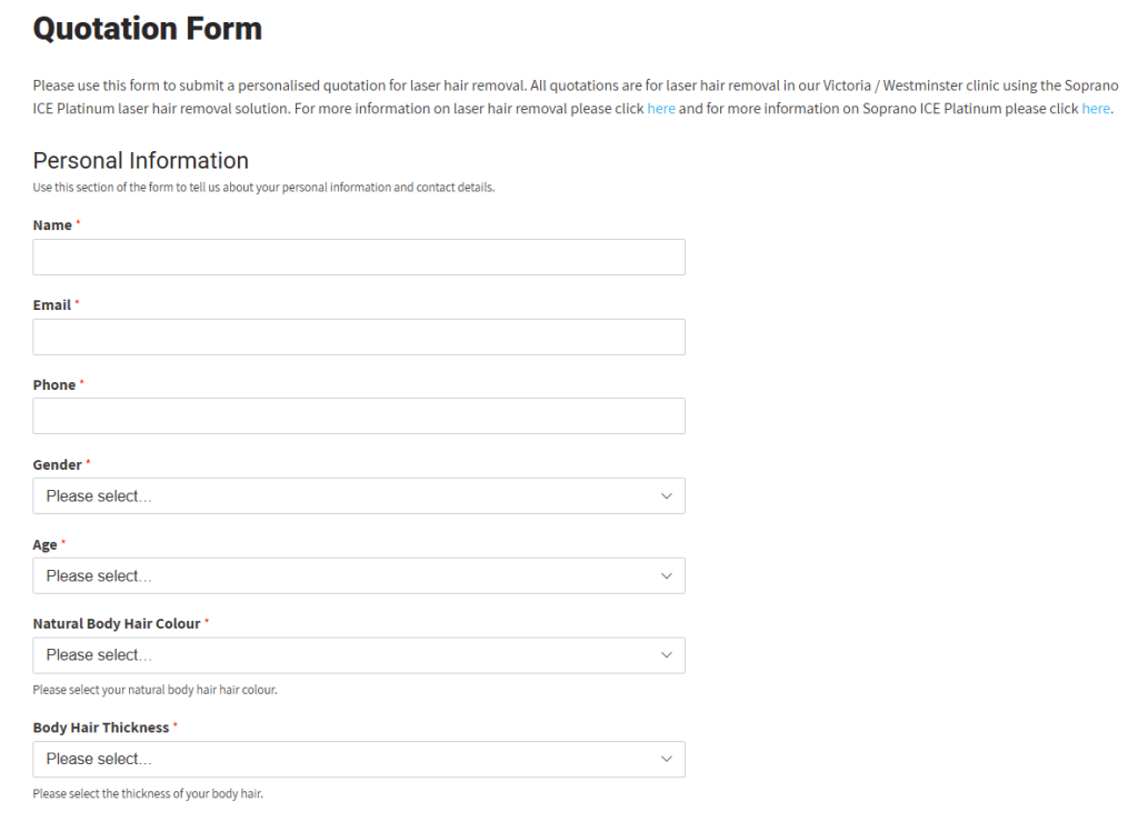 A screenshot of Iluvo's personalised quotation form.