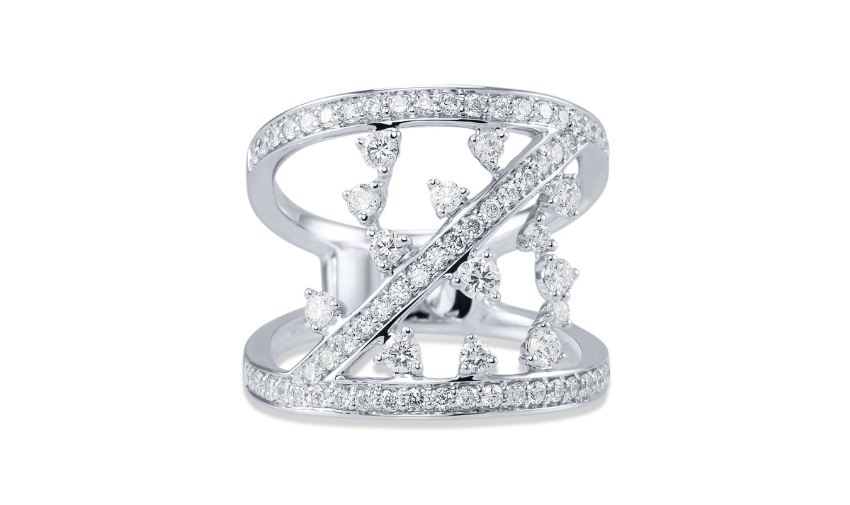 Prsten ALO diamonds z kolekce Aphrodité, bílé 14kt zlato, 72 diamantů, cena 133 548Kč