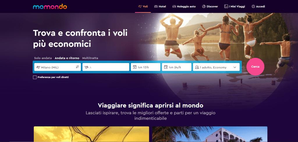La homepage di Momondo