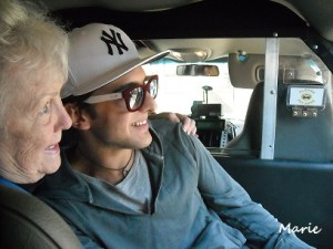 Mary and Piero in the cab