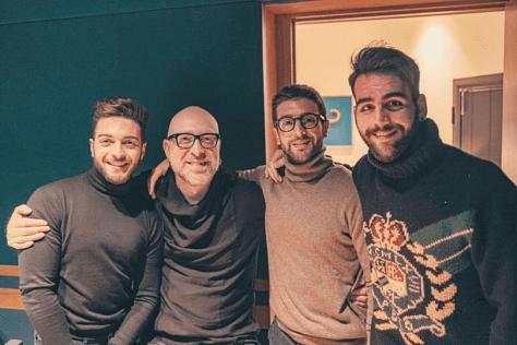 Gianluca, Mario Biondi, Piero and Ignazio share a moment
