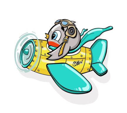 Color illustration of a little gray bird in yellow and teal airplane