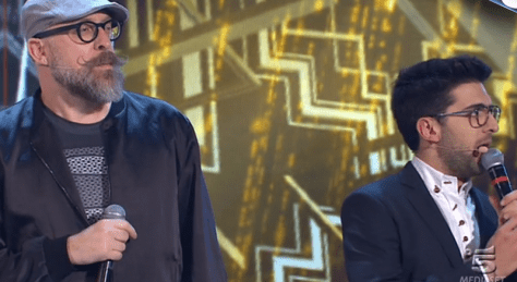 Left to right: Mario Biondi and Piero with Piero singing on House Party