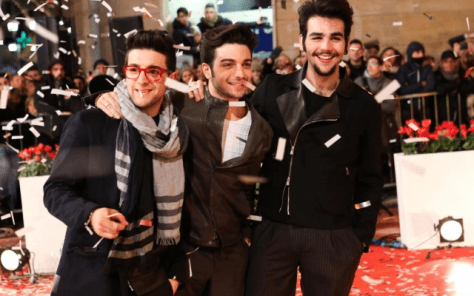 Left to right: Piero Barone, Gianluca Ginoble and Ignazio Boschetto on the red carpet at Sanremo