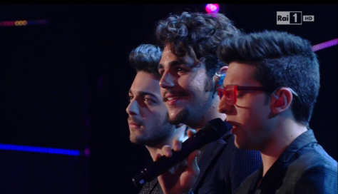 Left to right: Gianluca, Ignazio and Piero on stage with Piero singing