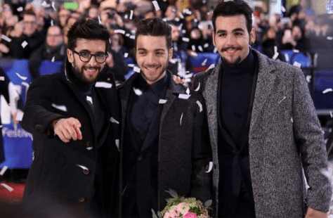 Left to right: Piero, Gianluca and Ignazio on the red carpet at Sanremo with confetti.