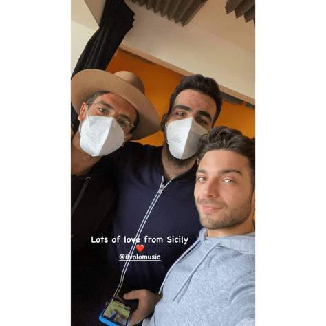 Left to right: Piero with mask and hat, Ignazio with mask, and Gianluca - lots of love from Sicily