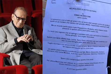 Photo of Ennio Morricone along with a photo of his posthumous letter to be read after his death
