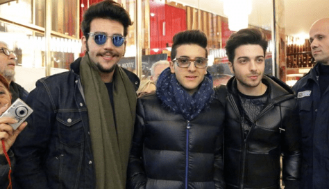 Left to rightLeft to right: Ignazio, Piero and Gianluca in front of the Ariston doors