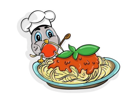 Color illustration of a little bird chef with a plate of pasta