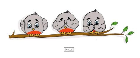 Color illustration of three gray birds on a limb