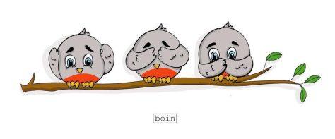 Color illustration of three gray birds on a limb