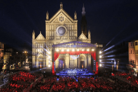 Close up night time picture of the PIazza Santa Croce with the stage