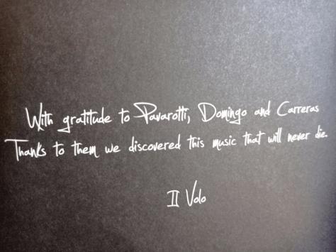 Message to Placido Domingo from IL VOLO